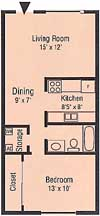 Floor Plan - 1 bedroom, 1 bath