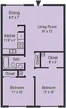Floor Plan - 2 bedroom, 1 bath