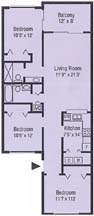 Floor Plan - 3 bedroom, 2 bath